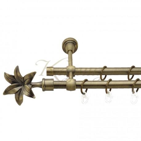 """Карниз для штор """"Цинара"""" металевий подвійний 16+16мм литий"""