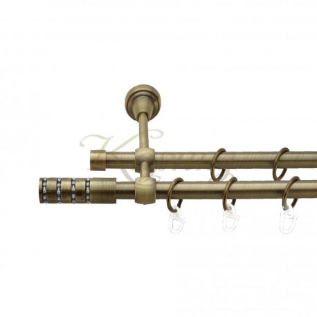 """Карниз для штор """"Авея"""" металевий подвійний 16+16мм литий"""