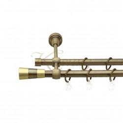 """Карниз для штор """"Баваро"""" металевий подвійний 16+16мм литий"""