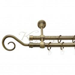 """Карниз для штор """"Венеція"""" металевий подвійний 16+16мм литий"""