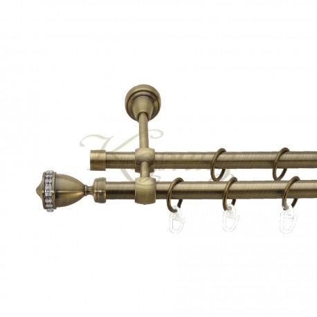 """Карниз для штор """"Барамелла"""" металевий подвійний 16+16мм литий"""