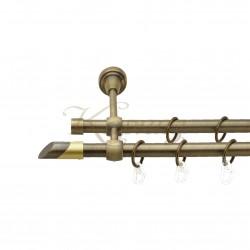 """Карниз для штор """"Лукка"""" металевий подвійний 16+16мм литий"""