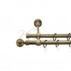 """Карниз для штор """"Паола"""" металевий подвійний 16+16мм литий"""