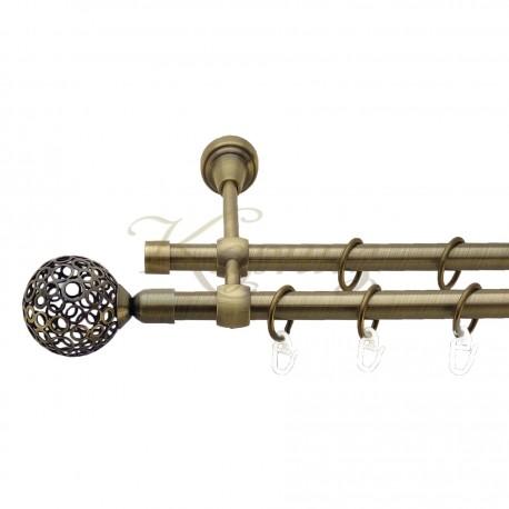 """Карниз для штор """"Рубікела"""" металевий подвійний 16+16мм литий"""